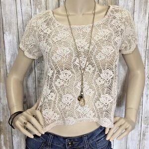 KIMCHI BLUE XS Ivory Lace Button Back Crop Top